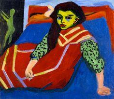 Ernst Ludwig Kirchner - Seated Girl (Fränzi Fehrmann), 1910 (altered - Art Prints from the Minneapolis Institute of Arts Ernst Ludwig Kirchner, Karl Schmidt Rottluff, George Grosz, Sitting Girl, Avant Garde Artists, Art Plastique, Oeuvre D'art, Illustrations, Art History