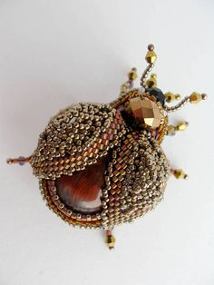 Beauty gift Woodlander jewelry Beetle brooch it is embroidered brooch with natural stone. Bug brooch has size - 2.1*1.8 inches (5.5*3.5 cm). This beetle jewelry can be made with different central stone according to your order. Brooch beetle Bronze Insect it is a bright sparkling and