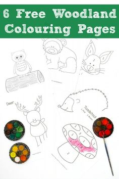 Great Colouring Pages for Fall - check out these adorable Woodland Colouring Pages, featuring Owl, Bear, Rabbit, Hedgehog, Reindeer & Mushroom