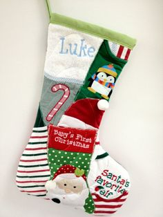 Memory Quilt Christmas Stocking made from baby's Christmas clothes - Love this idea!!!
