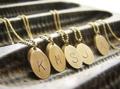 Personalized jewelry Gold Bar Initial necklace, Personalized necklace monogrammed charm, oval cylinder charm necklace, gift for her by SoraDesignsBlack on Etsy https://www.etsy.com/listing/192360533/personalized-jewelry-gold-bar-initial