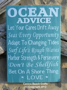 Beach Decor  Beach Wedding  Wood Sign  Ocean Advice Teal Mint Green Love Signs
