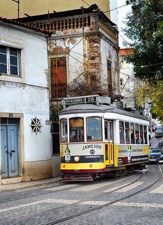 Lisbon City, Rail Train, Holiday Travel, Places To Go, Cities, Watercolor, Mountains, Landscape, Architecture