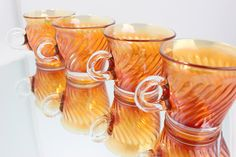 Carnival Glass Punch Bowl Cups w/ Loop Handle- Set of 4 - Carnival Glass Cups -Ribbed Design, possibly Indiana Glass - Vintage Kitchen by VintageLostButFound on Etsy