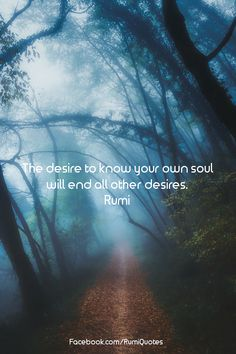 The desire to know your own soul ends all other desires. Rumi ❤ The desire to know your own soul will end all other desires. Rumi The desire to know your own soul ends all other desires. Rumi Love Quotes, Wise Quotes, Quotes To Live By, Motivational Quotes, Inspirational Quotes, Success Quotes, Poet Quotes, Happy Quotes, Citations Rumi