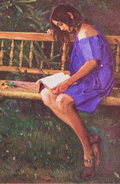 A Portrait of Natasha Nesterova (On a Garden Bench), 1914. Mikhail Vasilyevich Nesterov (Russian, 1862-1942). Post-impressionism.