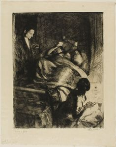 Albert Besnard,  French, 1849-1934.   Delivery, c. 1886,   Etching and drypoint and aquatint on cream Japanese paper, 394 x 312 mm (sheet) | The Art Institute of Chicago