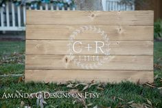 Simple Rustic Laurel Wreath Wedding Guest Book, Rustic Chic, Guest board, Guest sign in wood sign. Amanda G on Etsy