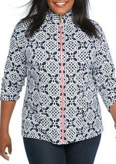 crown  ivy   Plus Size Printed Full Zip Sweatshirt