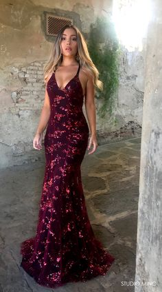 CHERRY COLA DISTRACTION DRESS BY STUDIO MINC #FORMAL #PROM #BACKLESS #BURGUNDY #DRESS