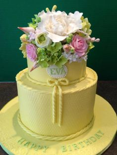 Yellow 2 Tier 80Th Birthday Cake With Gumpaste Flowers  on Cake Central