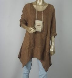 Linen tunic, oversized,  lagenlook, brown, hankie hem, plus size, bohemian, layered look, top, shabby chic. XS - 3XL. Free shipping in USA.