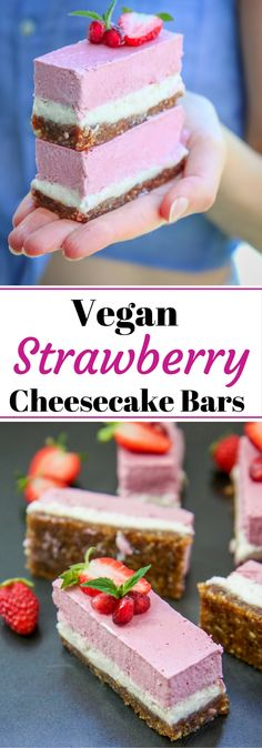 Vegan Strawberry Vanilla Cheesecake Bars