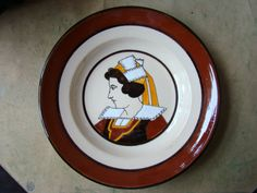 Vintage French Quimper Faience Plate Profile of a Breton Woman