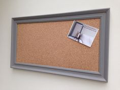 Large Cork Pin Board // Grey painted frame // Modern notice board // Shabby chic // Stylish Home Office // Hallway Kitchen Memo Organiser