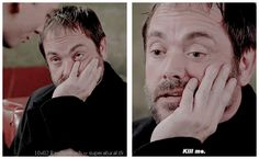 "10x02 Reichenbach [gifset] - ""... increase by 0.03%."" - poor Crowley, being talked to death by eager underlings - Supernatural"