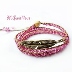 Bohemian pink bracelet pink wrap bracelet vintage by MSwithlove