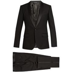 Dolce & Gabbana Shawl-collar three-piece wool-blend tuxedo ($2,425) ❤ liked on Polyvore featuring men's fashion, men's clothing, men's suits, black, mens shiny suits, mens tuxedo suits, mens three piece suit, dolce gabbana mens clothing and mens 3 piece suits