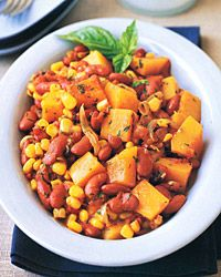 This hearty vegetable stew gets its heft from toothsome beans and rich butternut squash. Corn Recipes, Wine Recipes, Dog Food Recipes, Vegetarian Recipes, Cooking Recipes, Cooking Stuff, Yummy Recipes, Chicken Recipes, Recipies