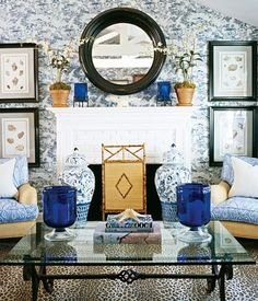 Love mixing!  A little bamboo, a little animal print, black to anchor room, and great blue and white!