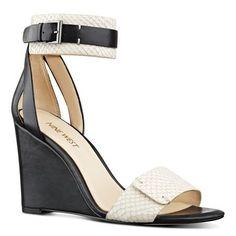 White and Black Snakeskin Finula Ankle Strap Wedge Sandals | Nine West