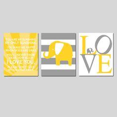 Sunshine Elephant Nursery Art  Set of Three 8x10 Prints by Tessyla, $55.00