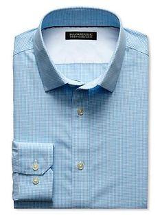 Tailored Slim-Fit Non-Iron Blue Micro-Plaid Shirt