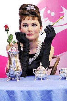Audrey Hepburn at Madame Tussauds Wax Museum in London.
