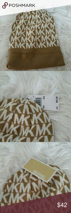 Only 1 left Michael Kors Beanie NWT BUY TODAY, I SHIP TODAY 100% AUTHENTIC    Brand new with tags Michael Kors beanie! Colors tan and cream Great gift idea Michael Kors Accessories Hats