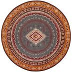 Classic Vintage Slate/Mustard (Grey/Yellow) 6 ft. x 6 ft. Round Area Rug
