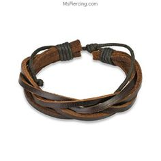 Brown Leather Bracelet with 5 Entangled Strips #mspiercing #piercings