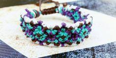 Purple White Teal & Brown Friendship Hemp by WartickRavels on Etsy