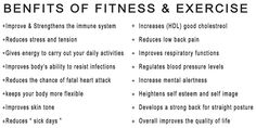 Fitness and Exercise Benefits