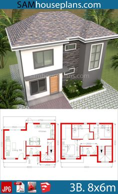 House Plans 8x6m with 3 Bedrooms - Sam House Plans