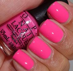 Pink nail polish, pink tip nails, barbie pink nails, nail polishes, b Opi Pink Nail Polish, Pink Tip Nails, Opi Nail Colors, Pink Manicure, Opi Nails, Bright Pink Nails, Barbie Pink Nails, Summer Pedicure Colors, Beach Pedicure