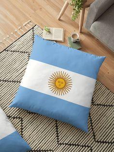 'Argentina Flag' Floor Pillow by ArgosDesigns Throw Pillows Bed, Bed Throws, Floor Pillows, Decorative Throw Pillows, Cushion Covers, Pillow Covers, Argentina Flag, Long Hoodie, Laptop Sleeves