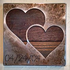 Double Heart with Custom Date - Anniversary Gift - Metal Art - Reclaimed Wood and Aged Steel - 9x9 - by Legendary Fine Art by LegendaryFineArt on Etsy