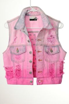 pink ombre ripped denim vest, if I find a vest like this that fits I'm totally diying the color