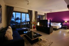 black purple studio bedroom living room