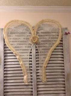 A personal favorite from my Etsy shop https://www.etsy.com/listing/289979395/burlap-lace-angel-wings-wall-hanging