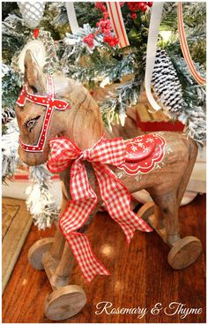 christmas, holidays, wooden horse, christmas decorating, home, inspiration
