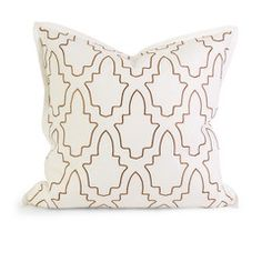Taupe Embroidered Linen Pillow