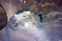 Dust blows from what was once the Aral Sea floor.  Tragic mismanagement of a natural resouce.