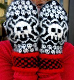 sticka vantar döskallar handarbete pyssel gratis mönster julklapp present inspiration tips stickat
