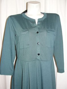 NEW Reborn Women's Emerald Green Button Neck 3/4 Sleeve Tunic Dress NWT Size XL #Reborn #ShirtDressTunic #CasualCareer