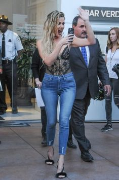 Khloe Kardashian Ripped Jeans - Khloe Kardashian amped up the sexy vibe with a pair of tight ripped jeans from her Good American line.