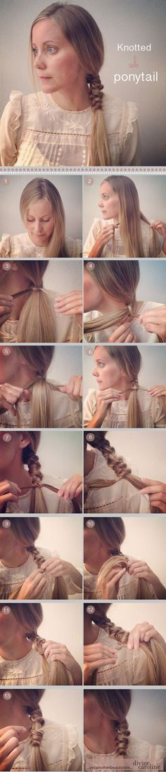Embellish a boring side ponytail by adding knots (this look can be worn messy or sleek – you pick!).