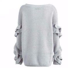 The Emily Ruffled Sweater is a casual lounge pullover knit sweater that can be off one shoulder or both, with loose, ruffled sleeves and a wide collar. Cute Sweaters For Fall, Winter Sweaters, Ruffle Sleeve, Men Sweater, Pullover, Long Sleeve, Casual, Sleeves, Cotton