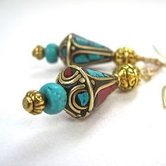 Exotic Ethnic Earrings with Vintage Tibetan Tribal Beads. Handmade jewelry by Rough Magic Creations
