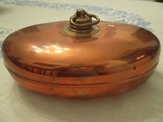 Copper Bed Warmer with Brass screw top West Germany Oval